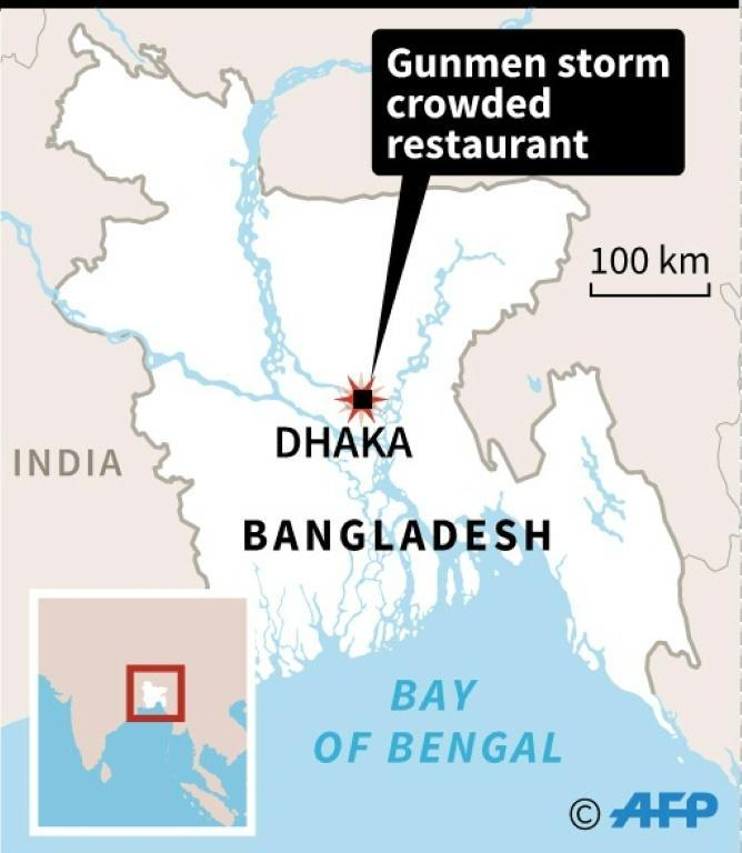 Map of Bangladesh locating gun attack in Dhaka