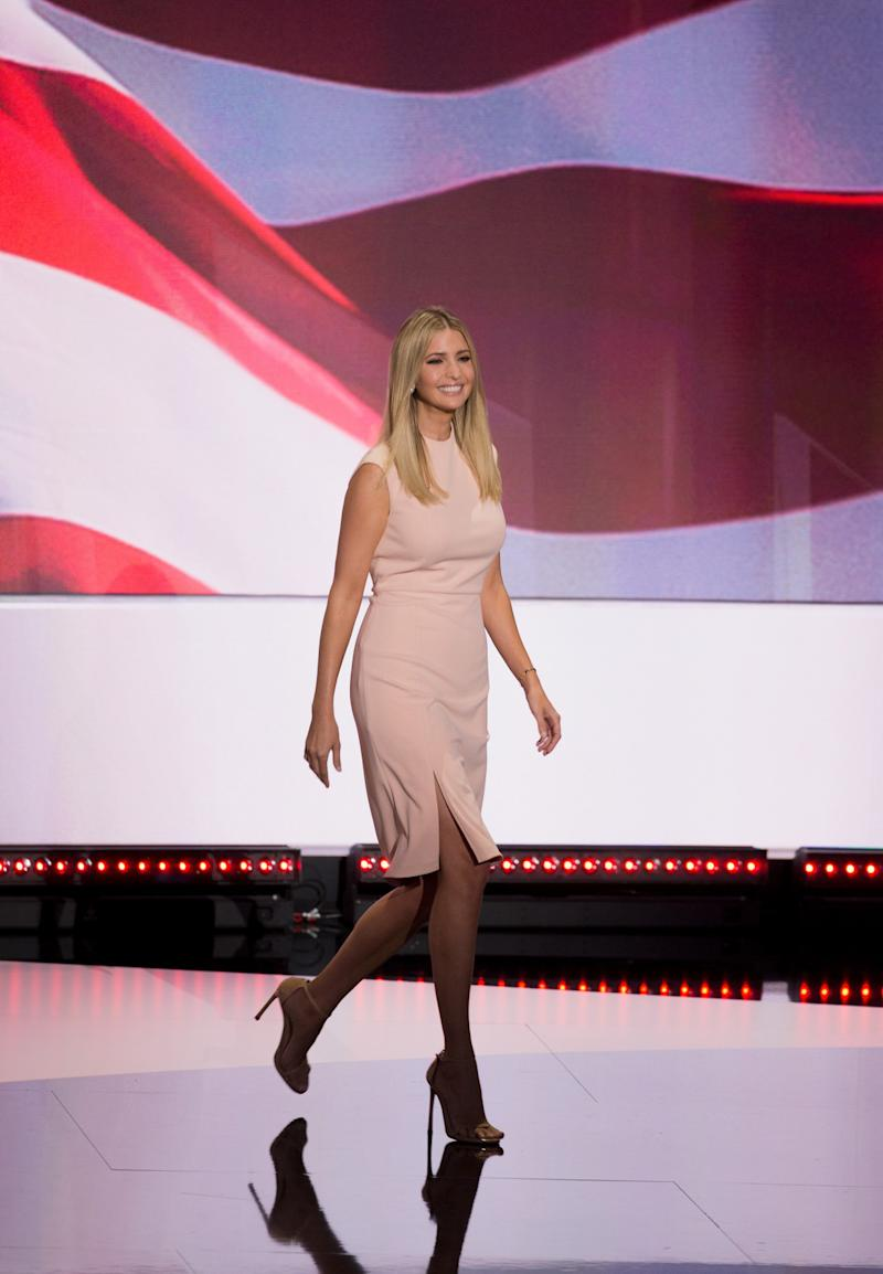 Ivanka addressed the crowd wearing a dress from her own line. (Photo: Getty Images)