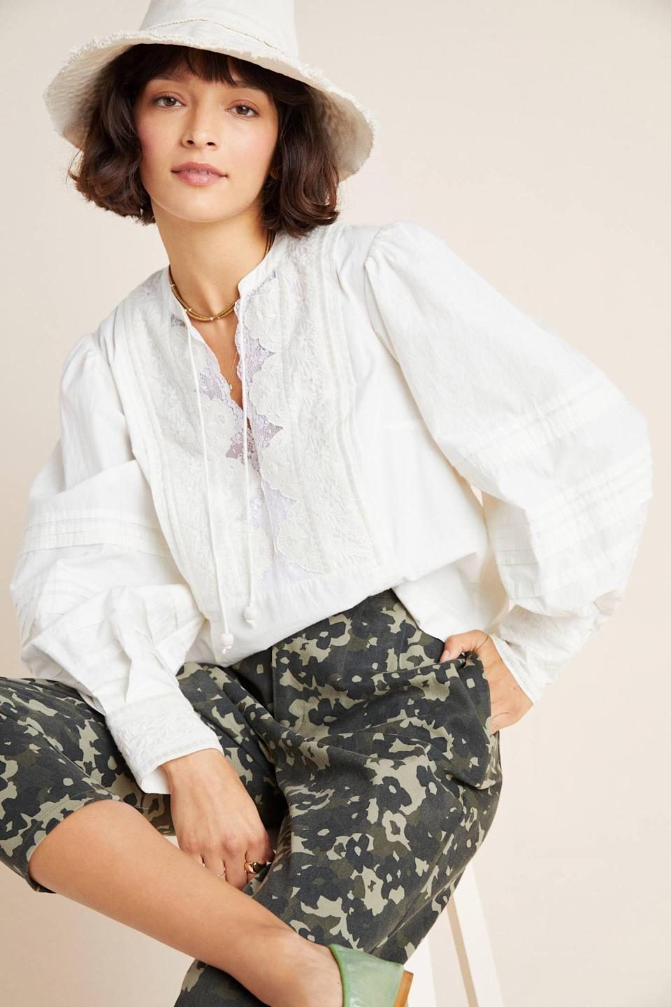 "<p><strong>Anthropologie Anthropologie</strong></p><p>anthropologie.com</p><p><a href=""https://go.redirectingat.com?id=74968X1596630&url=https%3A%2F%2Fwww.anthropologie.com%2Fshop%2Fdelilah-pleated-lace-peasant-blouse&sref=https%3A%2F%2Fwww.townandcountrymag.com%2Fstyle%2Ffashion-trends%2Fg32969328%2Fanthropologie-summer-sale-june-2020%2F"" rel=""nofollow noopener"" target=""_blank"" data-ylk=""slk:Shop Now"" class=""link rapid-noclick-resp"">Shop Now</a></p><p>$39.95</p><p><em>Original Price: $118</em></p>"