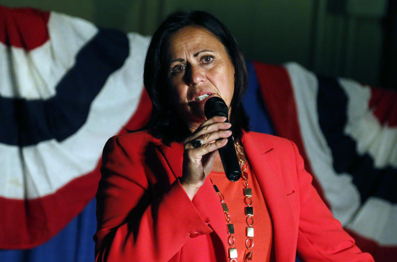 Democratic state Sen. Angela Giron gives her concession speech after she lost in a recall vote in Pueblo, Colo., Tuesday Sept. 10, 2013. Two Colorado state lawmakers who backed gun-control measures in the aftermath of the mass shootings in Colorado and Connecticut last year have been ousted in recall elections. (AP Photo/Brennan Linsley)