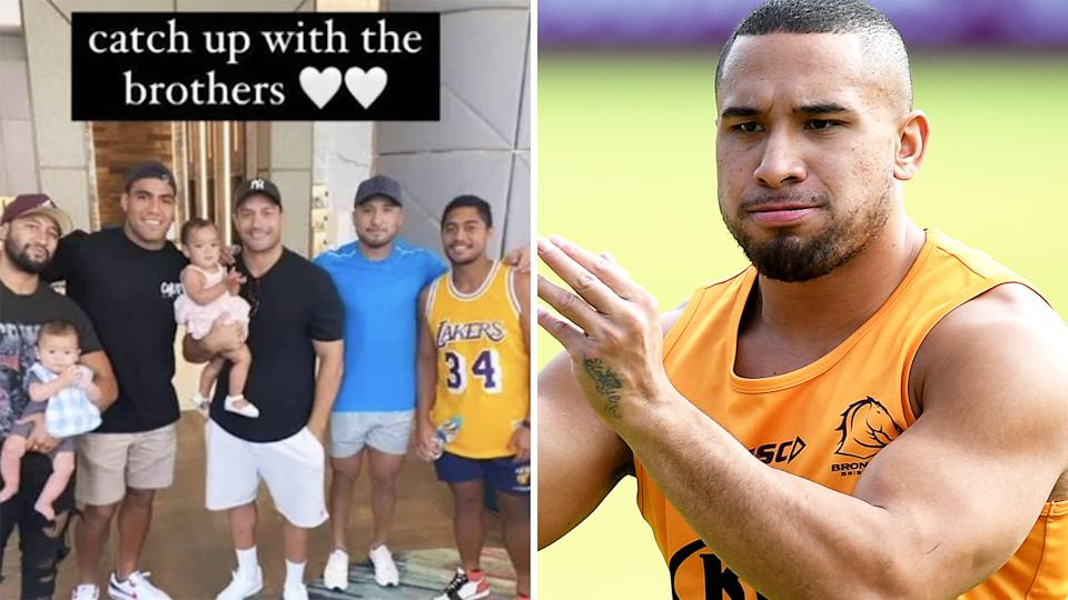 Two Brisbane Broncos players have drawn the ire of club officials after a catch up with ousted former teammate Jamil Hopoate, who recently pleased guilty to two charges of assaulting his partner. Pictures: Instagram/Getty Images