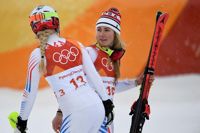 Mikaela Shiffrin (right) raced in the combined at the Pyeongchang Olympics where she won silver and while Lindsey Vonn (left) did not finish (AFP Photo/FRANCOIS XAVIER MARIT)