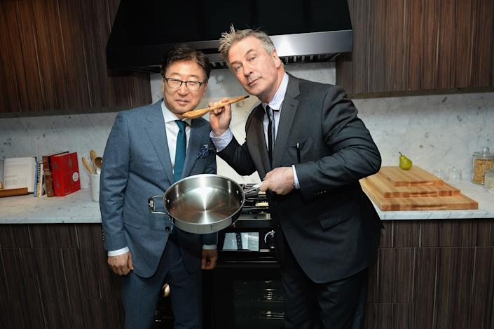 President/CEO, Samsung Electronics BK Yoon and Alec Baldwin attend the Dacor Modernist Collection Launch at Samsung 837 on March 15, 2017 in New York City.
