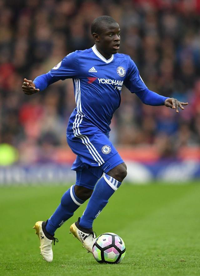 STOKE ON TRENT, ENGLAND - MARCH 18: N'Golo Kante of Chelsea in action during the Premier League match between Stoke City and Chelsea at Bet365 Stadium on March 18, 2017 in Stoke on Trent, England. (Photo by Laurence Griffiths/Getty Images)