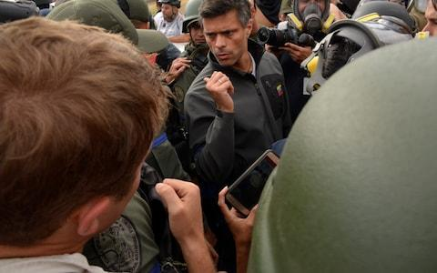 Lopez emerged on Tuesday from two years of house arrest with the help of defecting soldiers - Credit: Anadolu