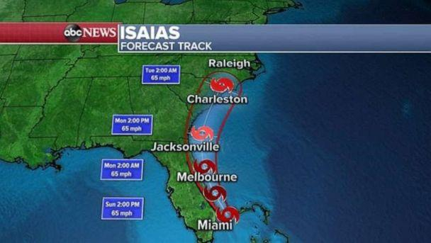PHOTO: Tropical Storm Isaias has winds of 65 mph and is about 45 miles east-northeast of Fort Lauderdale, Florida. The storm is moving northwest at 9 mph. (ABC News)