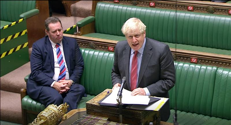 Prime Minister Boris Johnson making a statement to MPs in the House of Commons on the latest situation with the coronavirus pandemic.