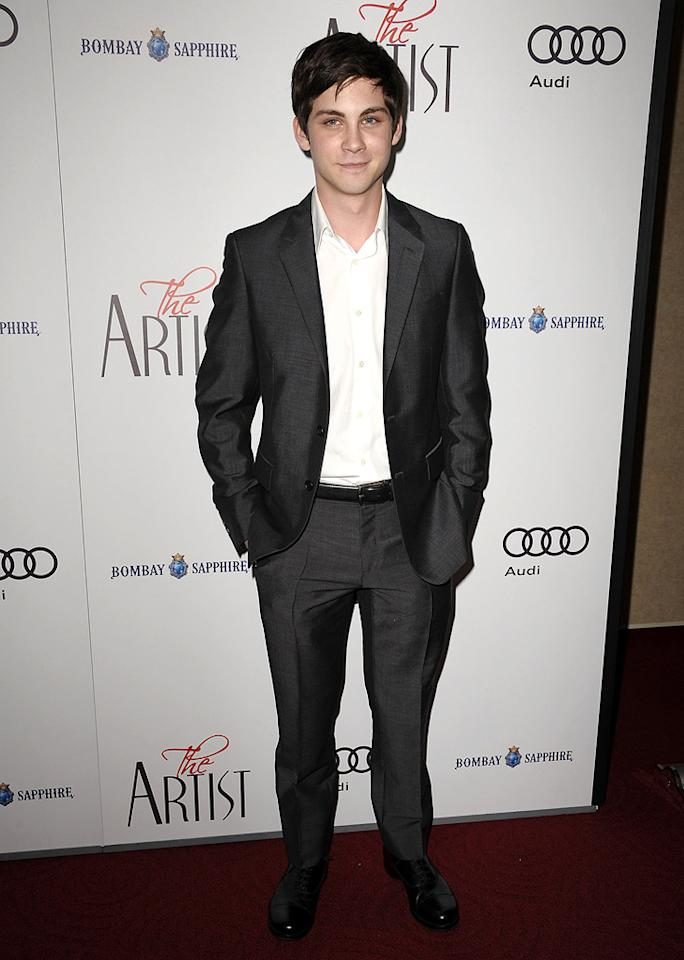 """<a href=""""http://movies.yahoo.com/movie/contributor/1800490496"""">Logan Lerman</a> at the Los Angeles premiere of <a href=""""http://movies.yahoo.com/movie/1810224313/info"""">The Artist</a> on November 21, 2011."""
