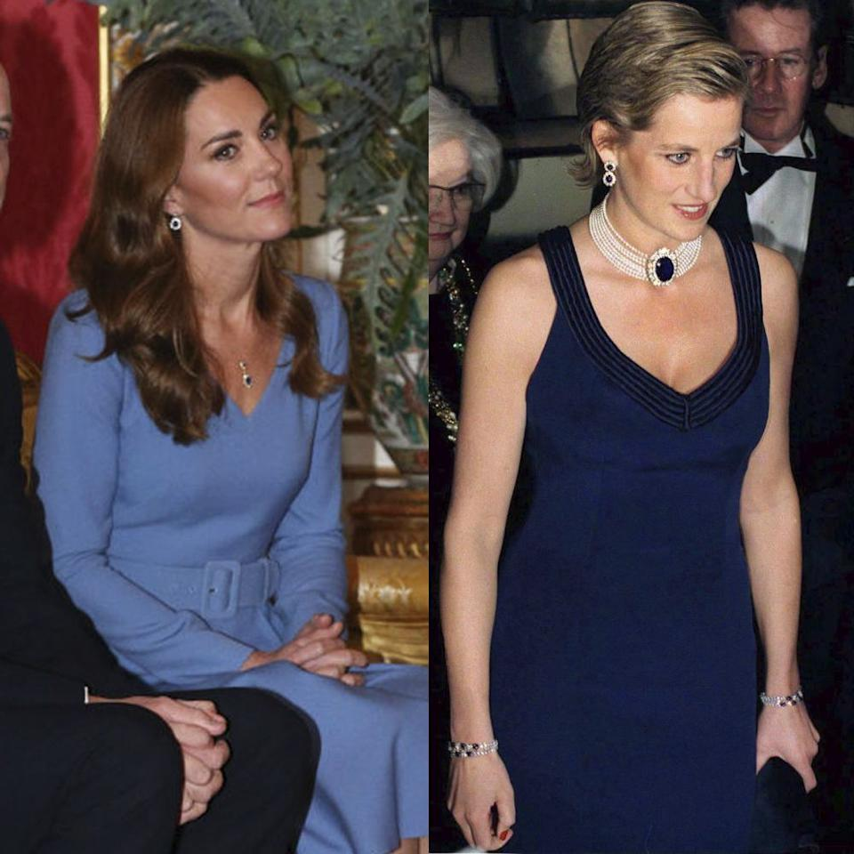 "<p>Eagle-eyed Royal fans may have spotted that it appears Kate Middleton has transformed her late mother-in-laws earrings into an earring and necklace set. During a meeting with the President of Ukraine and First Lady Оlena, the Duchess of Cambridge paired her <a href=""https://www.net-a-porter.com/en-gb/shop/designer/gabriela-hearst"" target=""_blank"">Gabriela Hearst</a> blue dress with the reworked pieces that were gifted to her from husband William in 2010.</p><p>The earrings were originally a wedding gift to Princess Diana from Crown Prince Fahd of Saudi Arabia on her wedding day in 1981, and the mother-of-two went on to wear them multiple times since, seemingly proving them a favourite of Lady Diana Spencer's.</p>"
