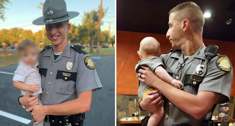 Kentucky police officer Aaron Hampton holds a three-month-old baby so his mother could eat her lunch in peace.