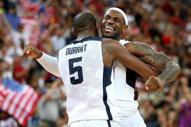 LONDON, ENGLAND - AUGUST 12: Kevin Durant #5 of the United States and team mate LeBron James #6 of the United States celebrate in the Men's Basketball gold medal game between the United States and Spain on Day 16 of the London 2012 Olympics Games at North Greenwich Arena on August 12, 2012 in London, England. (Photo by Christian Petersen/Getty Images)