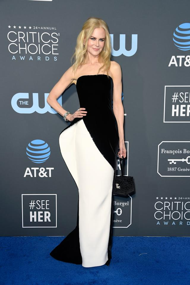 <p>Nicole Kidman went for an edgy monochrome look in a strapless asymetric gown. Source: Getty </p>