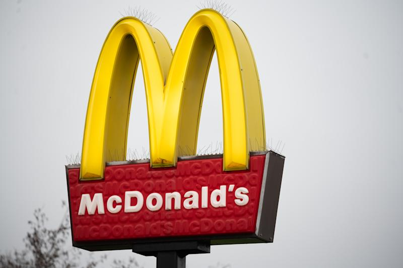 CARDIFF, UNITED KINGDOM - MARCH 18: A close-up of a McDonald's restaurant sign on March 18, 2020 in Cardiff, Wales. The fast food company has announced its stores will be open only for takeaway orders due to fears surrounding the coronavirus. (Photo by Matthew Horwood/Getty images)