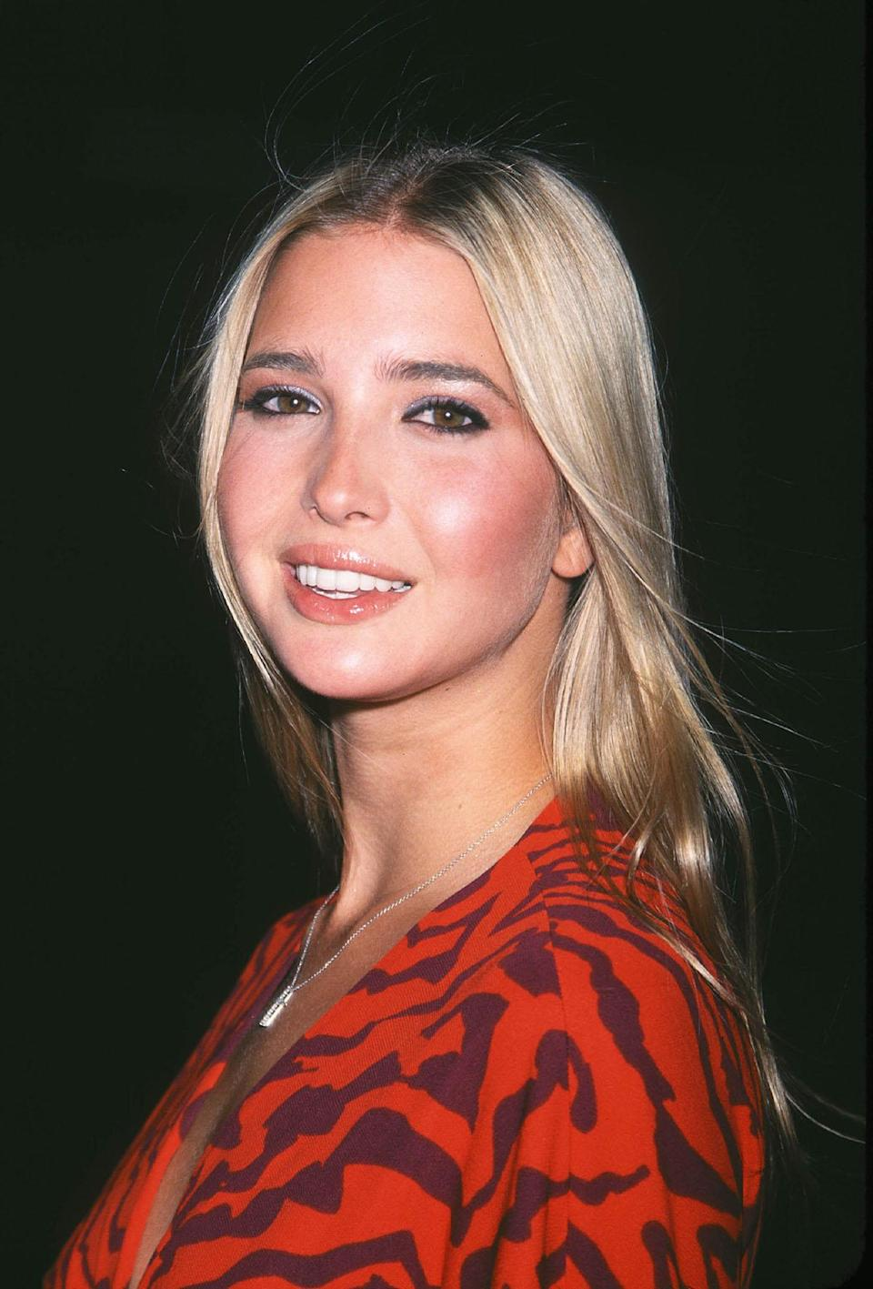 <p>Ivanka sports bright blond wispy locks and peach tones on her cheeks and lips. (Photo: AP Images) </p>