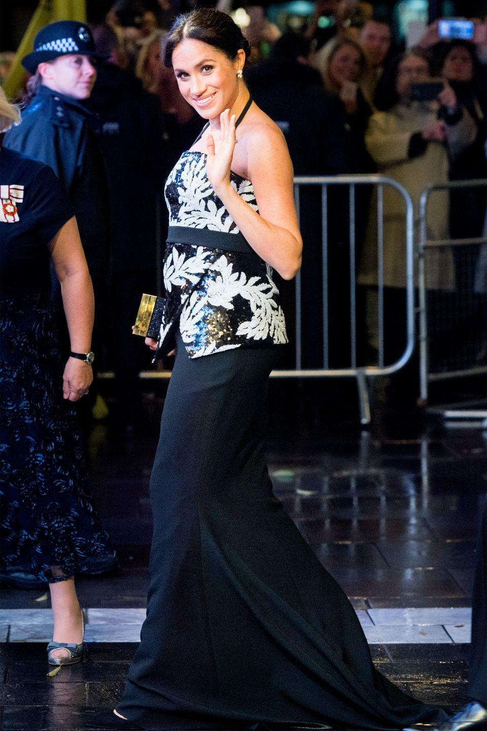 <p>Meghan, Duchess of Sussex, arrives at The Royal Variety Performance.</p>
