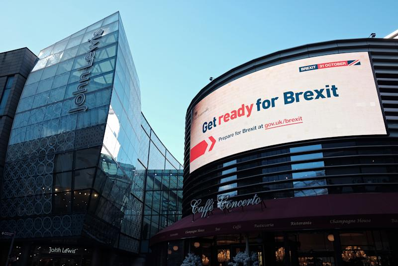An electronic display showing a 'Get ready for Brexit' Government advert, in London. Photo: Yui Mok/PA Wire