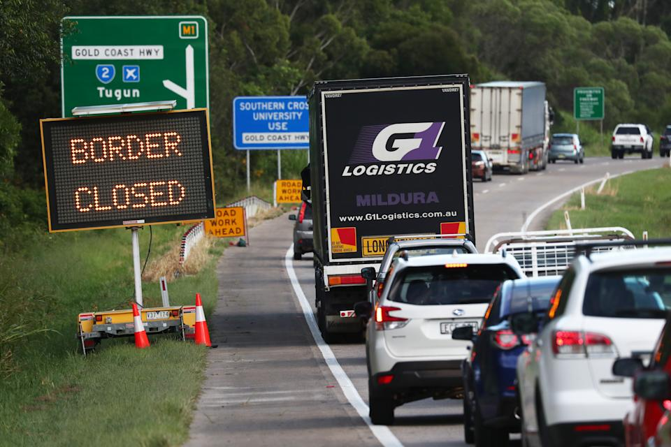 Traffic on The Pacific Highway in New South Wales near the Queensland Border after it was closed midnight Wednesday. Source: AAP