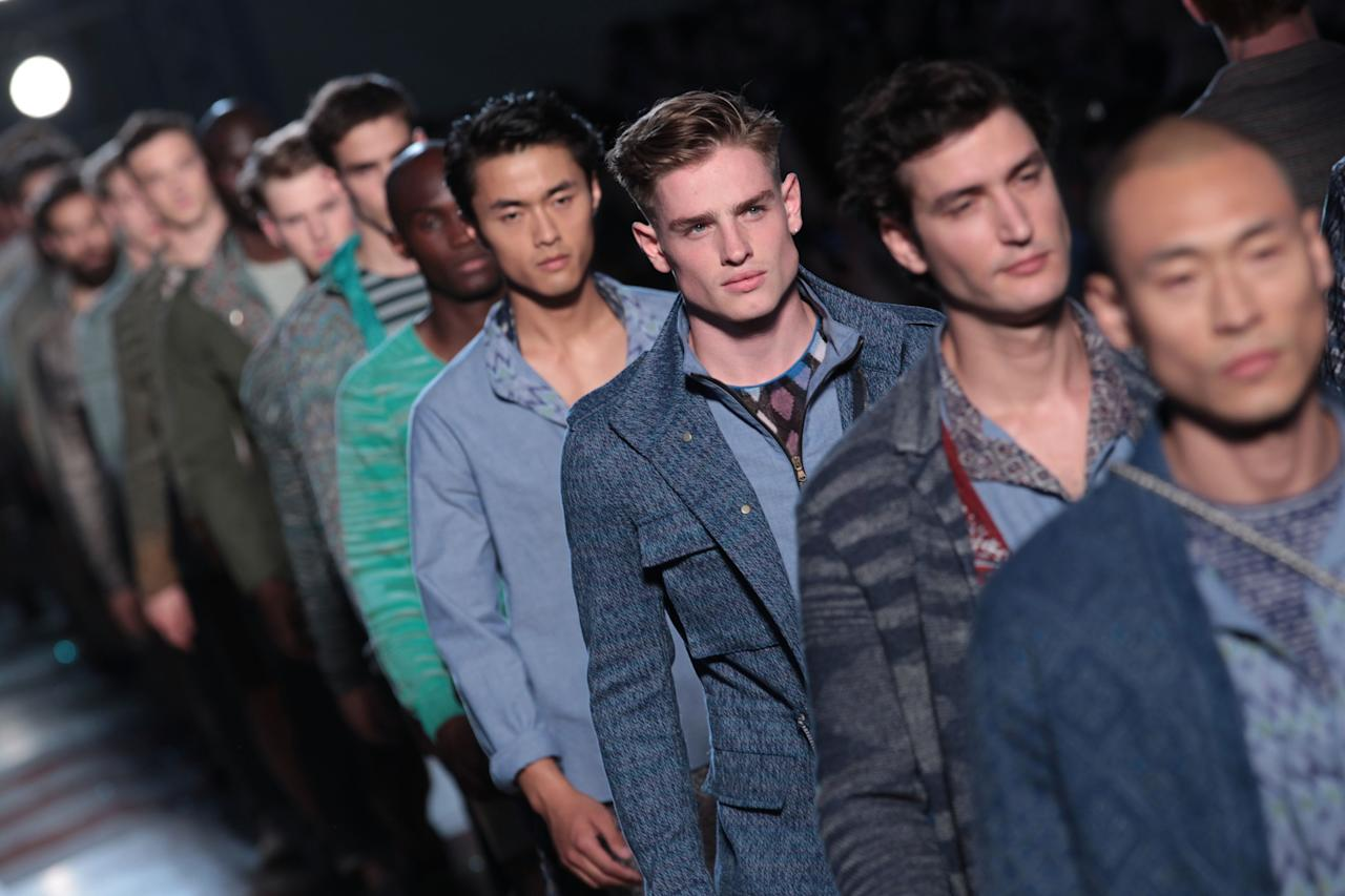 MILAN, ITALY - JUNE 25:  Models walk the runway during the Missoni show as part of Milan Fashion Week Menswear Spring/Summer 2013 on June 25, 2012 in Milan, Italy.  (Photo by Vittorio Zunino Celotto/Getty Images)