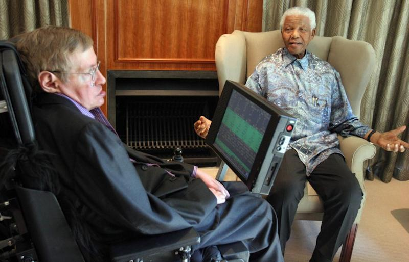 Professor Stephen Hawking is seen here with former South Africa President Nelson Mandela