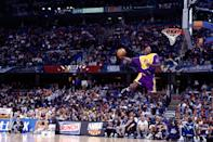Kobe Bryant won the slam dunk contest as an 18-year-old rookie. (Andrew D. Bernstein/NBAE via Getty Images)
