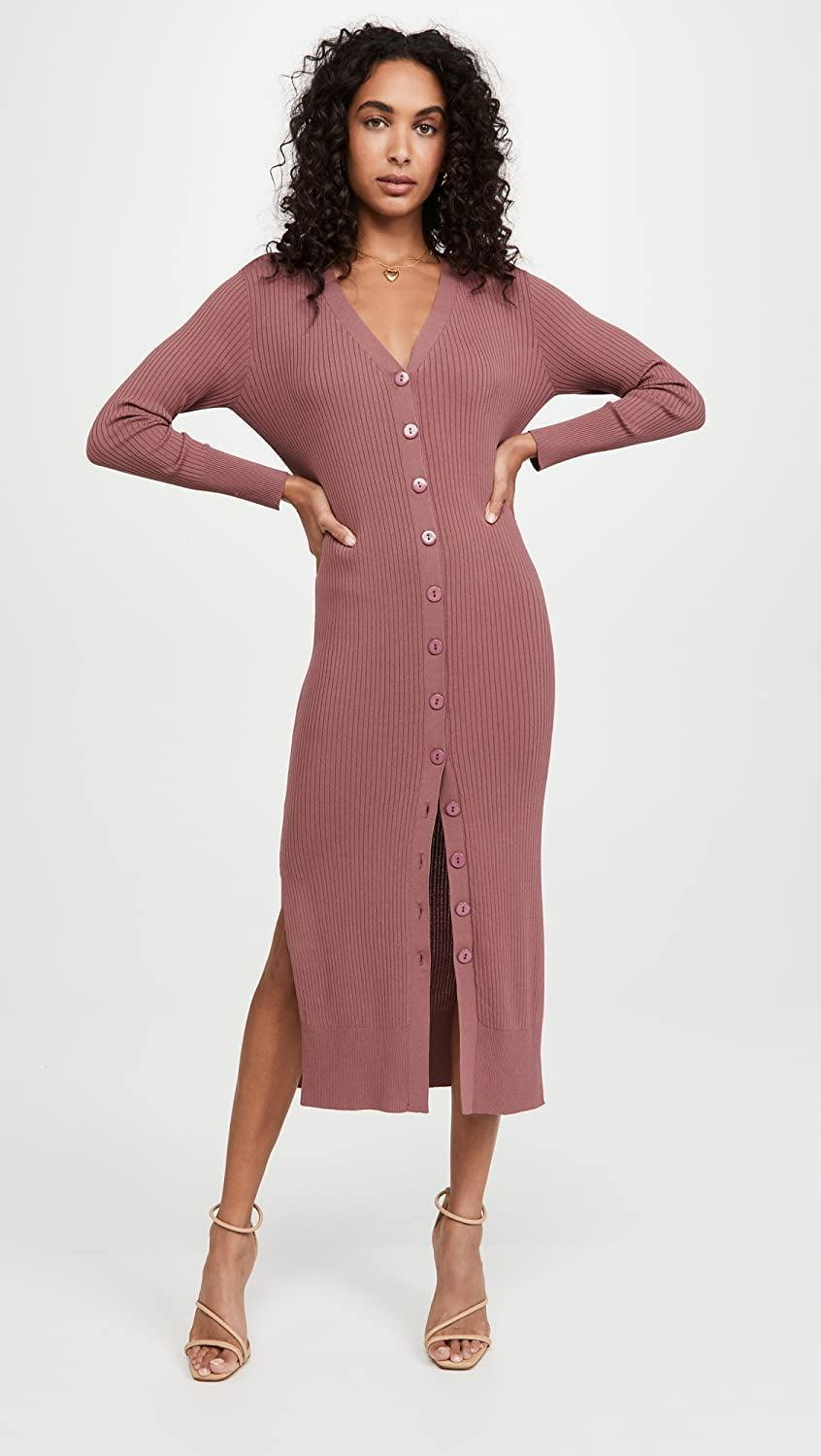 <p>The nice part about this <span>Line &amp; Dot Simone Button Down Sweater Dress</span> ($136) is that you can keep it buttoned and wear it as a dress, button only the top and pair it with jeans, or unbutton it all the way and wear it as a long cardigan. The possibilities are endless.</p>