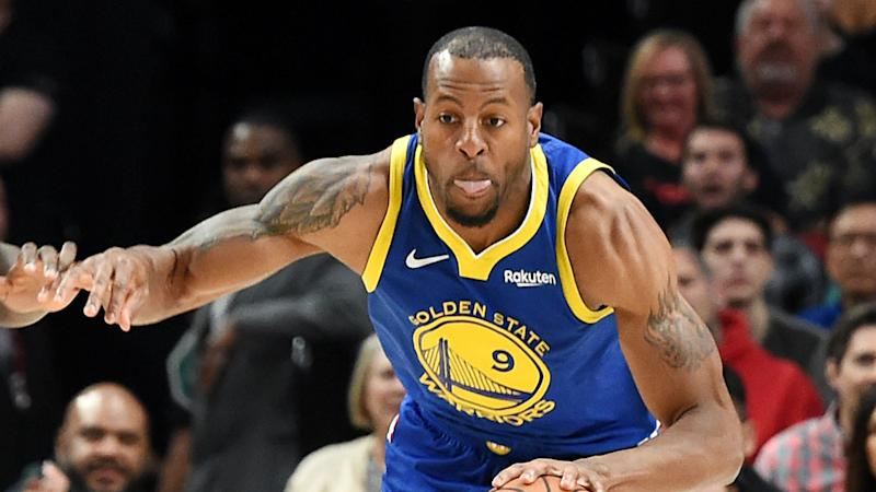 Iguodala sits out 4th with sore calf; MRI on Sun