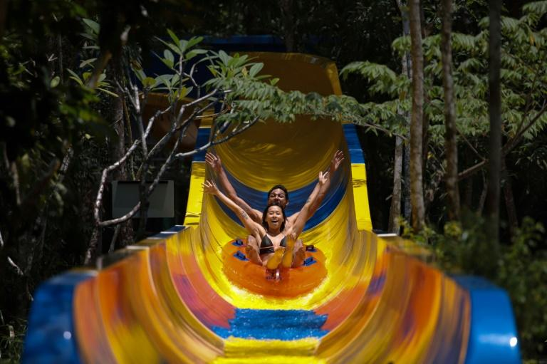 Building the 488 piece slide was mostly done manually and without using heavy machinery to avoid damaging the natural environment (AFP Photo/SADIQ ASYRAF)
