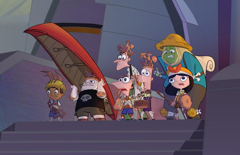 "Stepbrothers Phineas and Ferb, their older sister Candace, Perry the Platypus and the Danville gang are back together again in ""Phineas and Ferb The Movie: Candace Against the Universe"". (Disney)"