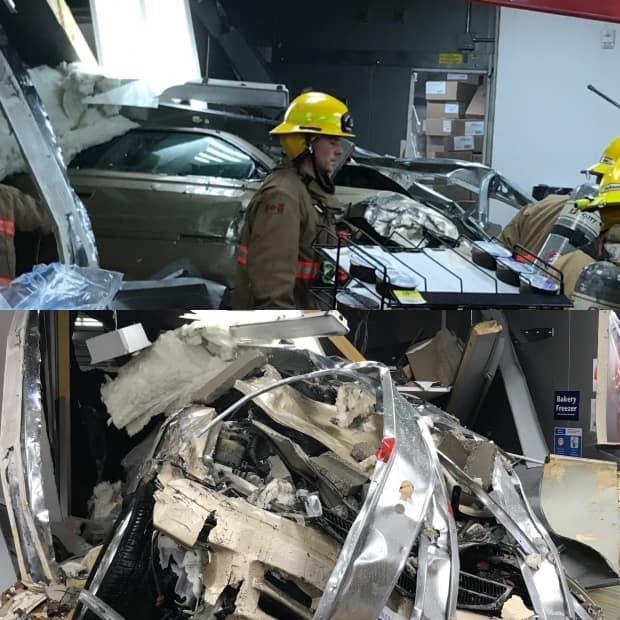 Saanich Fire crews rescued the people trapped inside as well as the driver of the vehicle. (Saanich Fire Department - image credit)