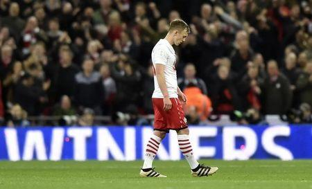 Southampton's James Ward-Prowse looks dejected after the game