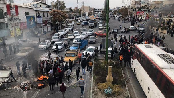 PHOTO: Protesters set fire as they block the roads during a protest against gasoline price hike at Damavand of Tehran, Iran on Nov. 16, 2019. (Anadolu Agency via Getty Images, FILE)