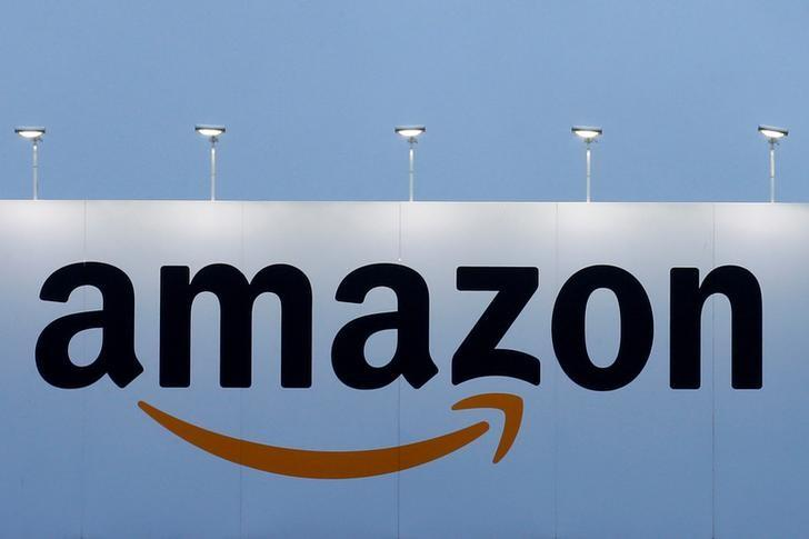 FILE PHOTO - The logo of Amazon is seen at the company logistics center in Lauwin-Planque northern France