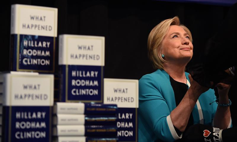 """Hillary Clinton kicks off her book tour forher memoir of the 2016 presidential campaign titled """"What Happened"""" with a signing at the Barnes & Noble in Union Square on Sept. 12 in New York. (TIMOTHY A. CLARY via Getty Images)"""