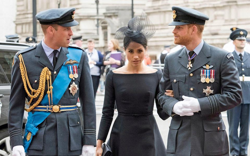 The Duke and Duchess of Sussex, pictured with Prince William, will not return as working members of the Royal Family - Francis Dias/NEWSPIX