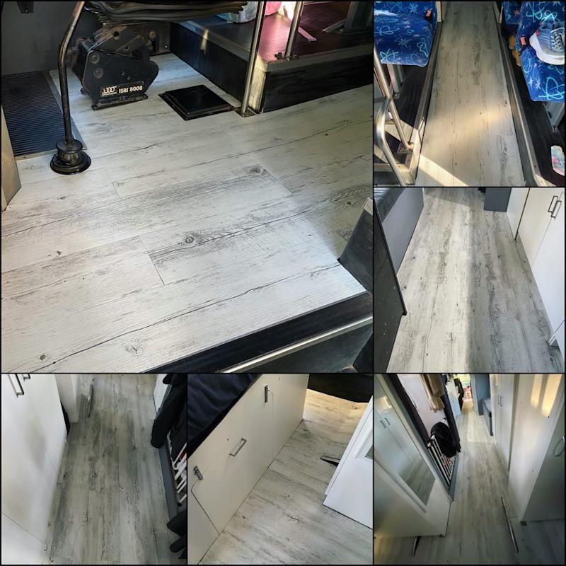 The flooring inside the Pascoe family bus