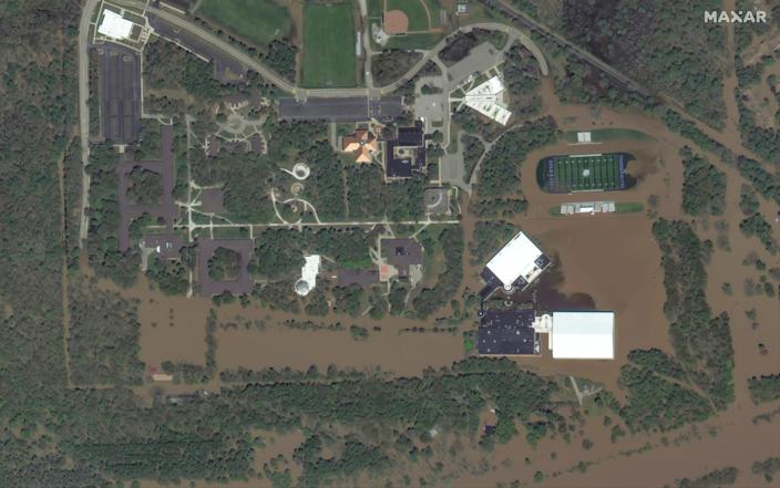 Maxar satellite imagery of Northwood University, west of Midland, Michigan due to the Tittabawassee River flooding.