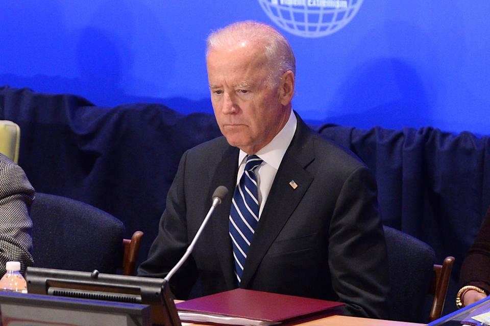 """Vice President Joe Biden attends the """"Leader's Summit on Countering ISIL and Countering Violent Extremism"""" at the United Nations Headquarters,  on September 29, 2015 in New York City."""