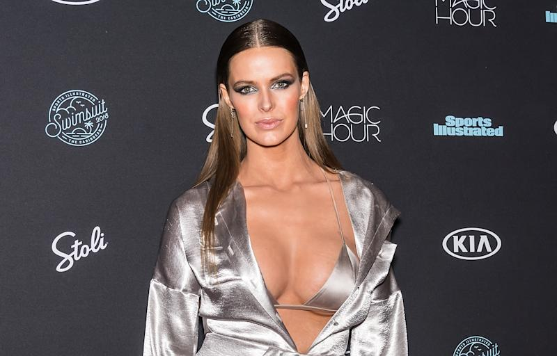 Model Robyn Lawley attends the 2018 Sports Illustrated Swimsuit Issue Launch Celebration at Magic Hour at Moxy Times Square on February 14, 2018 in New York City.