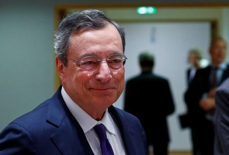 FILE PHOTO: ECB President Draghi arrives at a eurozone finance ministers meeting in Brussels