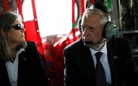 US Defense Secretary James Mattis and senior advisor Sally Donnelly arrive via helicopter at Resolute Support headquarters in Kabul, Afghanistan April 24, 2017 - Credit: JONATHAN ERNST/Reuters