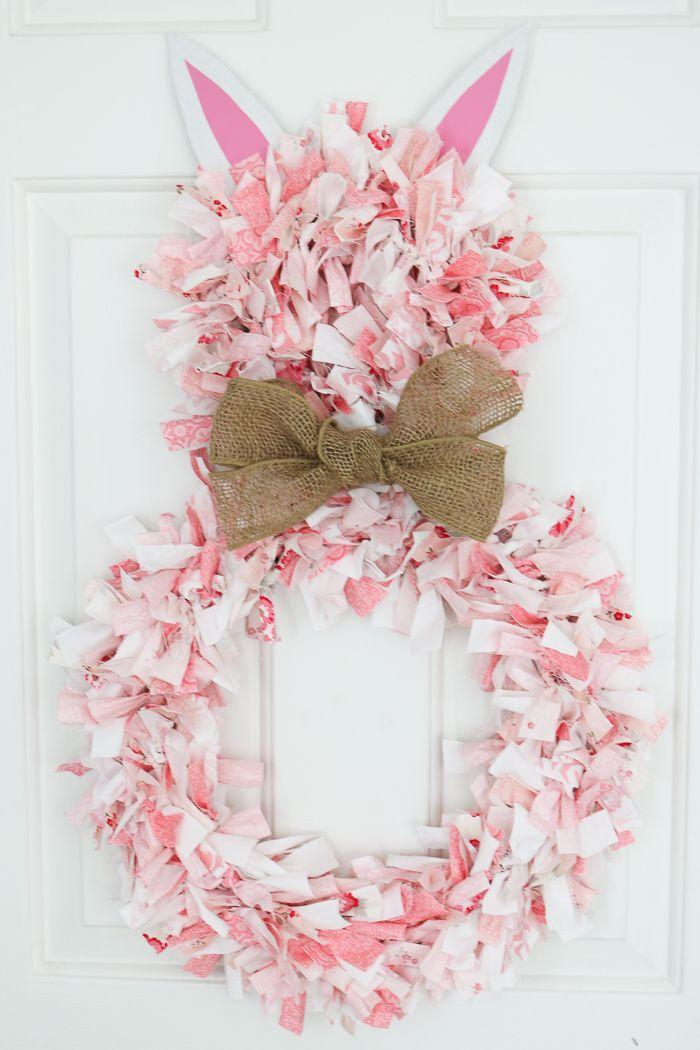 """<p>For a new way to make a rag wreath, get out your Cricut maker and use it to make a wreath that looks like a festive pink Easter bunny. </p><p><strong>Get the tutorial at <a href=""""https://www.thecountrychiccottage.net/rag-wreath/"""" rel=""""nofollow noopener"""" target=""""_blank"""" data-ylk=""""slk:The Country Chic Cottage"""" class=""""link rapid-noclick-resp"""">The Country Chic Cottage</a>.</strong></p><p><a class=""""link rapid-noclick-resp"""" href=""""https://go.redirectingat.com?id=74968X1596630&url=https%3A%2F%2Fwww.walmart.com%2Fip%2FWestcott-Non-Stick-Scissors-8-Straight-Titanium-Bonded-Grey-Yellow-2-Pack%2F484352532&sref=https%3A%2F%2Fwww.thepioneerwoman.com%2Fhome-lifestyle%2Fcrafts-diy%2Fg35698457%2Fdiy-easter-wreath-ideas%2F"""" rel=""""nofollow noopener"""" target=""""_blank"""" data-ylk=""""slk:SHOP SCISSORS"""">SHOP SCISSORS</a></p>"""
