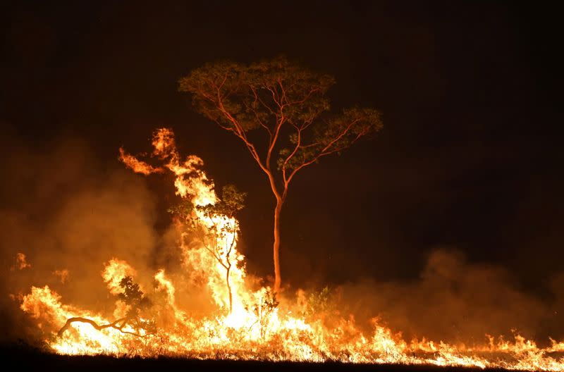 FILE PHOTO: A fire is seen on a tract of Amazon jungle at Tenharim Marmelos Indigenous Land