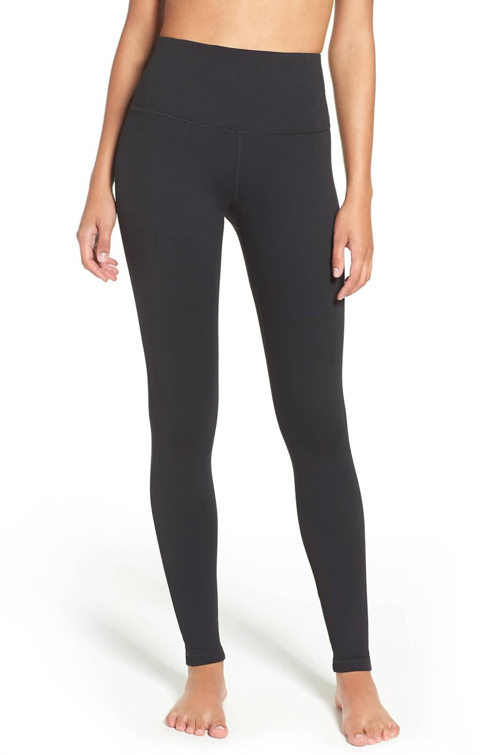 """<p>Think of these high-waist leggings as your new workout staple. The flattering, moisture-wicking fabric keeps you cool while you work up a sweat and with a no-slip waistband to worry about, it's no wonder this pair has a 4.5-star rating.<br><strong><a rel=""""nofollow noopener"""" href=""""https://fave.co/2VuA1D0"""" target=""""_blank"""" data-ylk=""""slk:Shop It"""" class=""""link rapid-noclick-resp"""">Shop It</a>:</strong> $54, <a rel=""""nofollow noopener"""" href=""""https://fave.co/2VuA1D0"""" target=""""_blank"""" data-ylk=""""slk:nordstrom.com"""" class=""""link rapid-noclick-resp"""">nordstrom.com</a> </p>"""