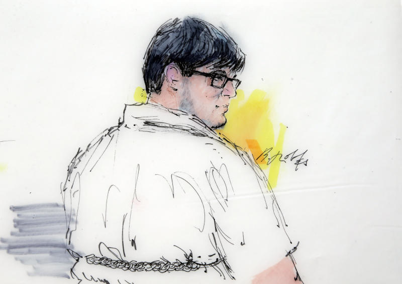 FILE - This Dec. 21, 2015 courtroom file sketch shows Enrique Marquez Jr. in federal court in Riverside, Calif. Marquez, a longtime friend of Syed Rizwan Farook, the male shooter in the San Bernardino terrorist attack, has agreed to plead guilty to conspiring with Farook in 2011 and 2012 to provide material support to terrorists. Marquez, 25, of Riverside, Calif., entered into a plea agreement that was filed Tuesday, Feb. 14, 2017, in U.S. District Court, and is scheduled to formally plead Thursday, Feb. 16. (Bill Robles via AP, File)