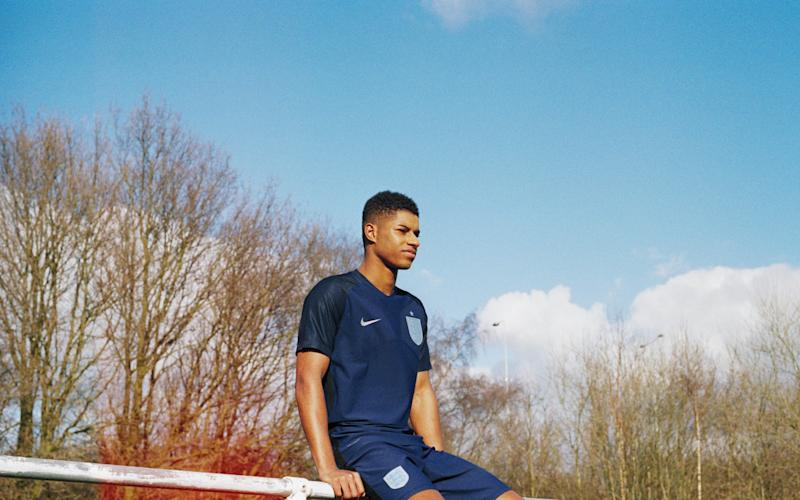 Marcus Rashford in the new two-tone England strip - Credit: Lottie Bea Spencer x Nike
