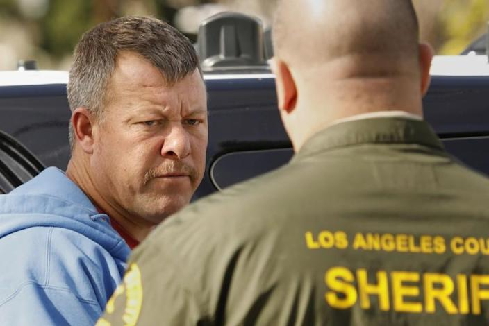 SAN PEDRO, CALIFORNIA—FEB. 5, 2020—Paul Flores is released from custody after his home and vehicles were searched in San Pedro, California on Feb. 5, 2020. Sheriff deputies search the home of a suspect Paul Flores in the case of missing student Kristin Smart who vanished from Cal Poly San Luis Obispo nearly 24 years ago. The suspect was released after a thorough check of his home and vehicles at 937 West Upland in San Pedro, California on Feb. 5, 2020. (Carolyn Cole/Los Angeles Times)
