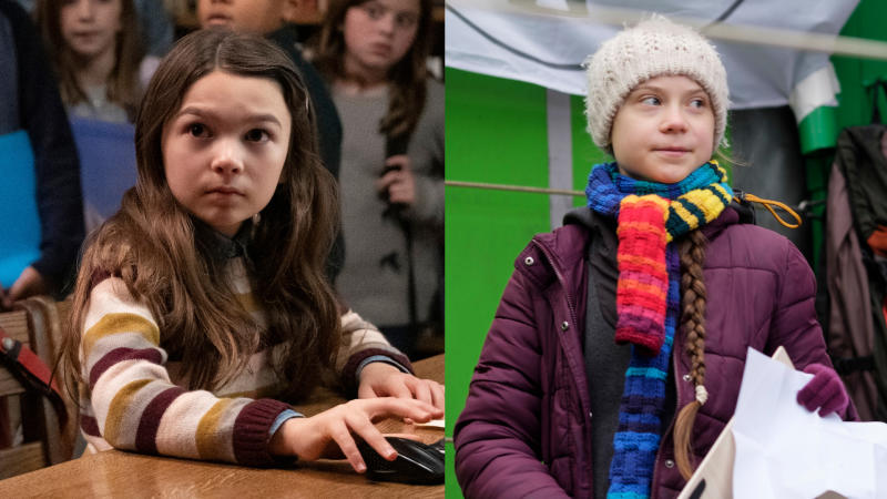 Brooklynn Prince in 'Home Before Dark' and teenage climate activist Greta Thunberg. (Credit: Apple/Thierry Monasse/Getty Images)