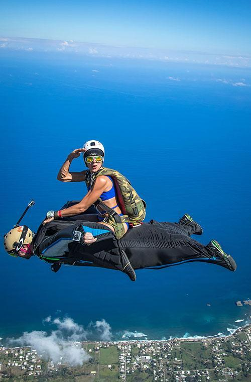 "But if you fancy your chances at a mid-air horse ride, Jeff warns it's not for the faint-hearted. ""Wingsuit rodeos are advanced and require an experienced wingsuiter as well as an experienced rider,"" he says of the extreme sport, as demonstrated by the team over Arecibo, Puerto Rico."