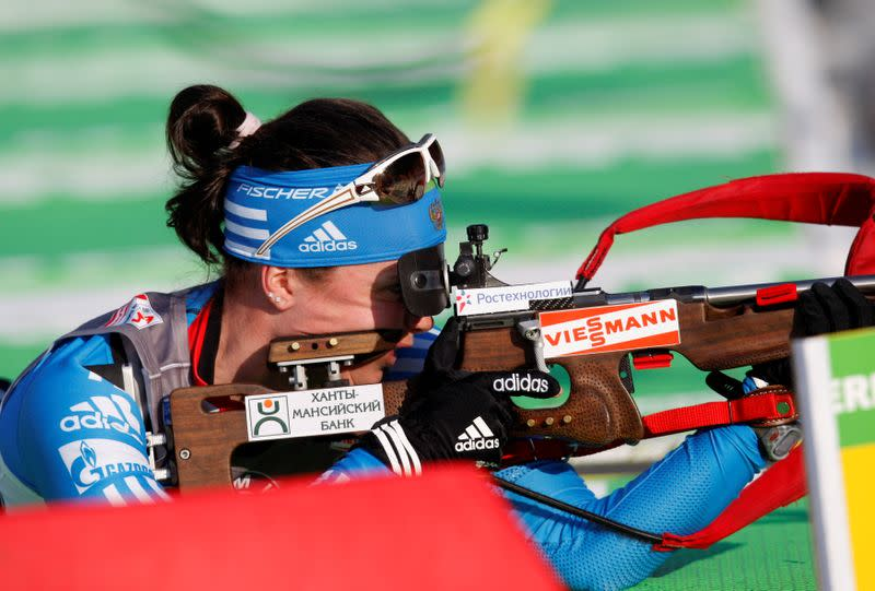 FILE PHOTO: Svetlana Sleptsova of Russia competes during the women's 7.5 km sprint race at the Biathlon World Championships in Ruhpolding
