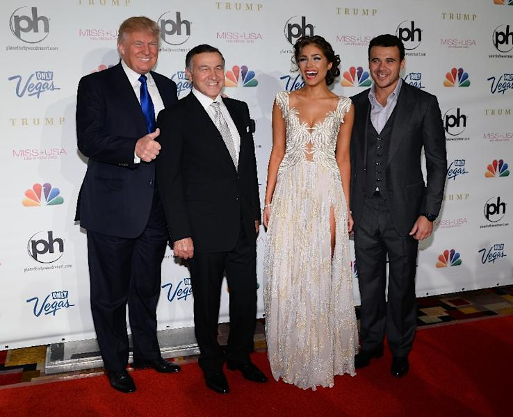 Donald Trump in Las Vegas in 2013 with Russian businessman Aras Agalarov, Miss Universe 2012 Olivia Culpo and Russian singer Emin Agalarov (AFP Photo/Ethan Miller)